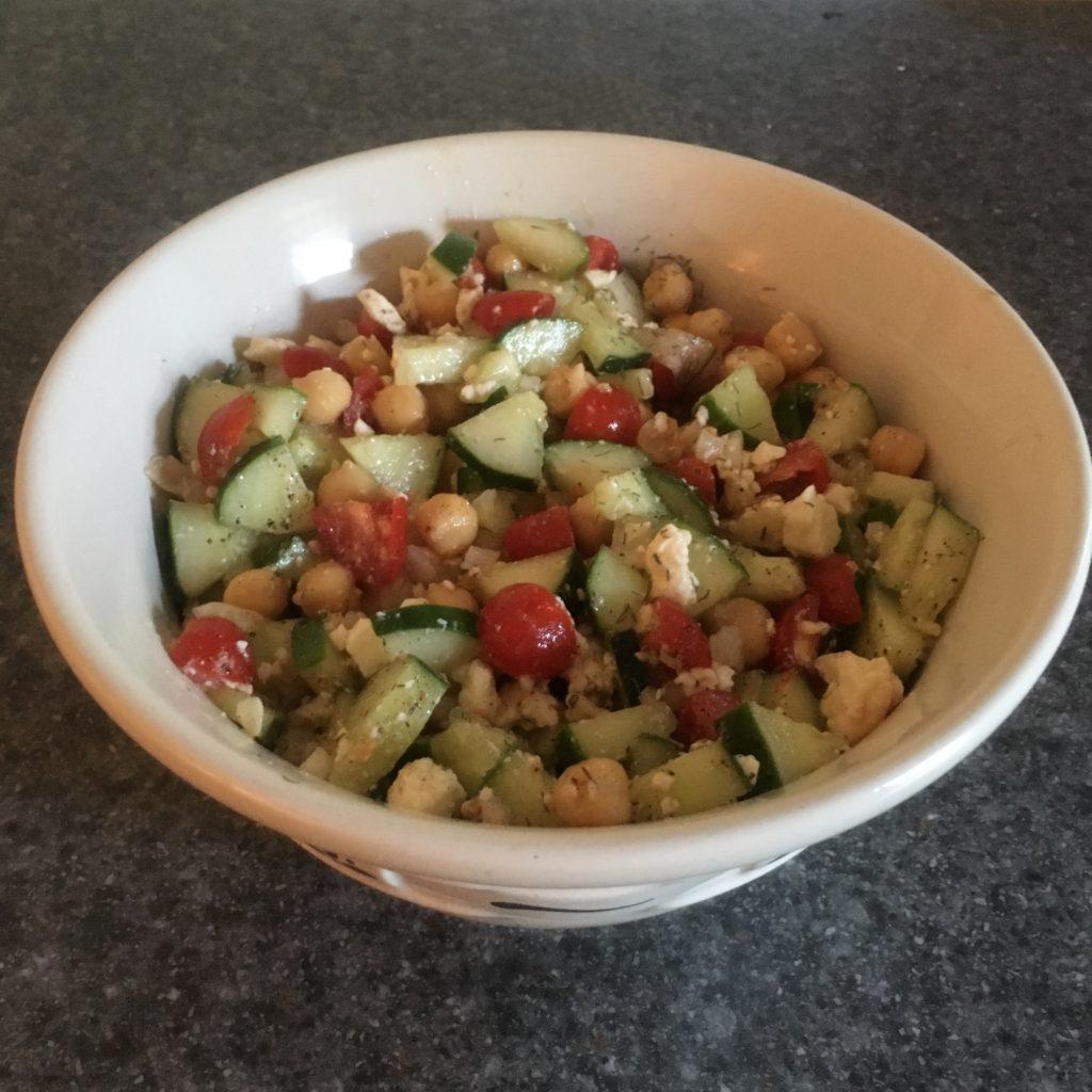 cucumber feta tomato chick pea salad