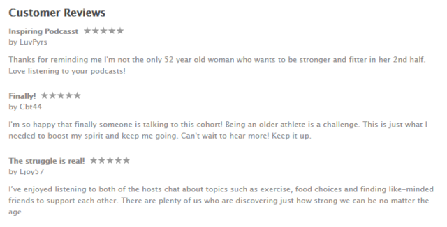 Some of the recent reviews on iTunes from our Becoming Elli Fit Strong Women Over 50 podcast.